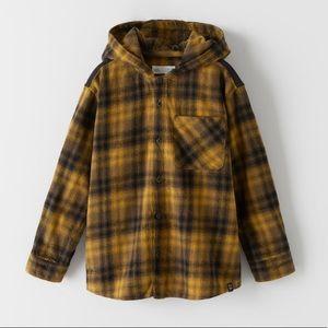 NWT Zara Boys Flannel Plaid Shirt Hoodie